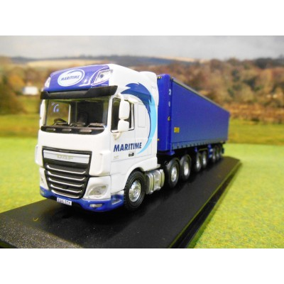 OXFORD 1:76 DAF XF EURO 6 MARITIME TRANSPORT DTEC SKELETAL TRAILER
