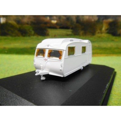 OXFORD 1:76 CARLIGHT CONTINENTAL CARAVAN ARTIC WHITE