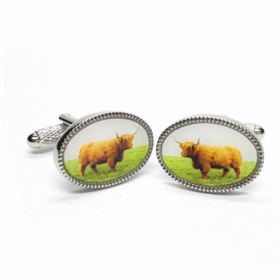 HIGHLAND COW CUFFLINKS IN GIFT BOX