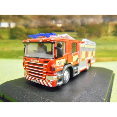OXFORD 1/76 SCANIA FIRE ENGINE PUMP & LADDER KENT FIRE & RESCUE