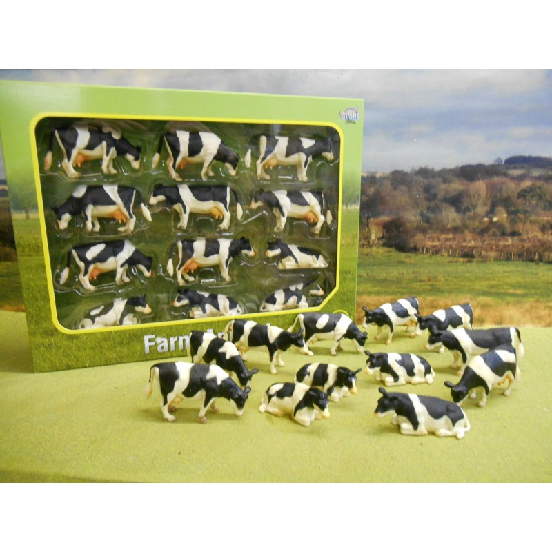 KIDS GLOBE 1:32 PACK OF 12 TOY FRIESIAN FARM COWS