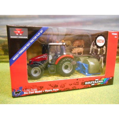 BRITAINS 1:32 MASSEY FERGUSON 5612 4WD TRACTOR BALE LIFTER & ANIMALS SET