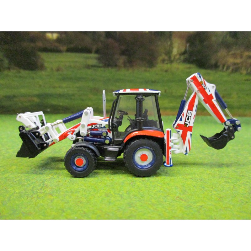 Oxford 1 76 Jcb Union Jack 3cx Eco Backhoe Loader