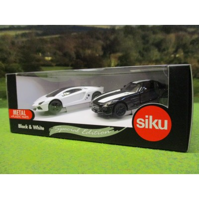 SIKU 1:55 SPECIAL EDITION BLACK & WHITE MERCEDES & LAMBORGHINI CAR SET
