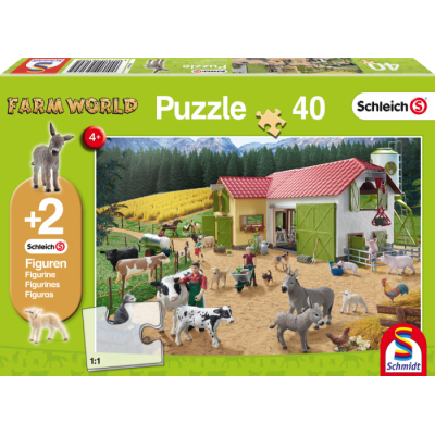 SCHMIDT SCHLEICH FARM WORLD 40 PC JIGSAW PUZZLE WITH 2 FIGURES