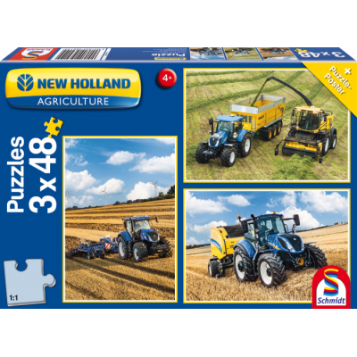 SCHMIDT NEW HOLLAND TRACTOR 3 X 48PC JIGSAW PUZZLES SET