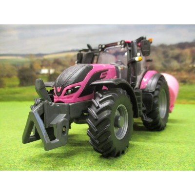 BRITAINS 1:32 PINK VALTRA T254 4WD TRACTOR BALE LIFTER & BALES SET