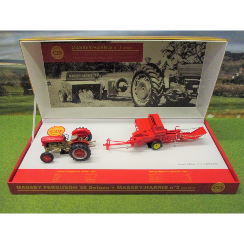 UNIVERSAL HOBBIES 1:32 MASSEY FERGUSON 35 DELUXE & NO3 BALER BOX SET
