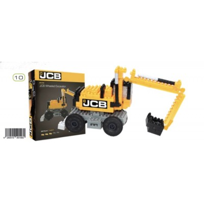 BRIXIES JCB WHEELED EXCAVATOR (268 + PIECES) MINI BUILDING BLOCKS IN BOX