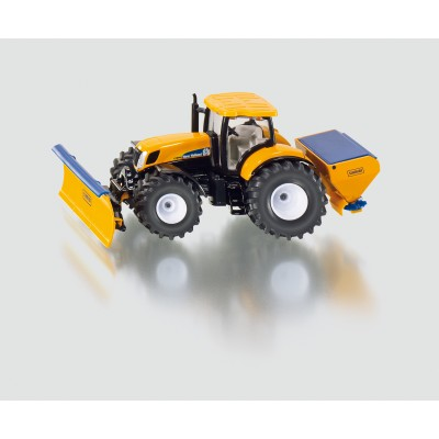 SIKU ROAD 1:50 NEW HOLLAND TRACTOR WITH PLOUGHING PLATE AND SALT SPREADER