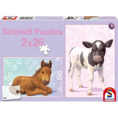 SCHMIDT FOAL & BABY CALF 2 X 26PC JIGSAW PUZZLES