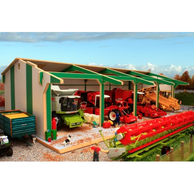 BRUSHWOOD 1:32 WOOD EURO STYLE TRACTOR SHED