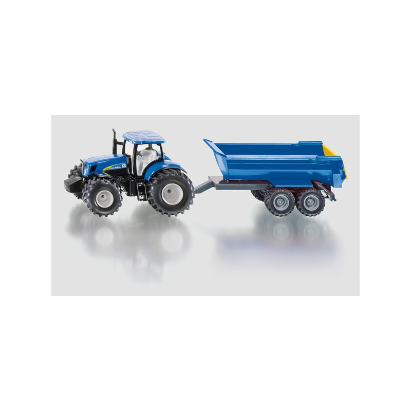 SIKU FARM 1:50 NEW HOLLAND T7070 WITH TIPPING TRAILER