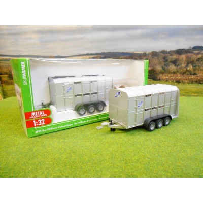 SIKU 1:32 IFOR WILLIAMS THREE AXLE LIVESTOCK TRAILER