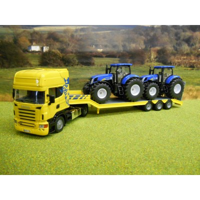 SIKU 1:50 SCANIA LOW LOADER & NEW HOLLAND TRACTORS