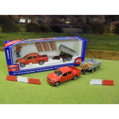 SIKU 1:50 VOLKSWAGEN AMOROK PICK UP & TIPPER TRAILER