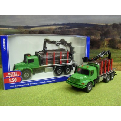 SIKU 1:50 MERCEDES ZETROS 2733 TIMBER LOGGING TRUCK & CRANE