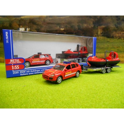 SIKU 1:55 RESCUE PORSCHE CAYENNE WITH HOVERCRAFT ON TRAILER