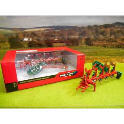 BRITAINS 1:32 KVERNELAND 5 FURROW PLOUGH & PACKOMAT PRESS