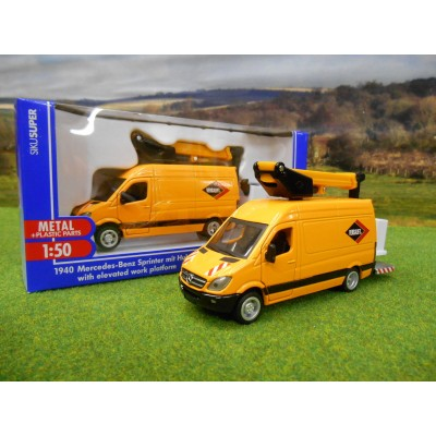 SIKU 1:50 MERCEDES SPRINTER CHERRY PICKER ELEVATED ACCESS PLATFORM