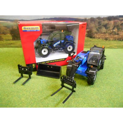 BRITAINS 1:32 NEW HOLLAND LM7.42 TELEHANDLER & ATTACHMENTS
