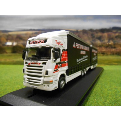 OXFORD 1:76 A PETTIFOR SCANIA R480 TOPLINE CURTAINSIDER DRAWBAR UNIT