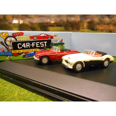 OXFORD 1:76 CARFEST 2015 2 CAR GIFT SET AUSTIN HEALEY 3000 & MGB ROADSTER