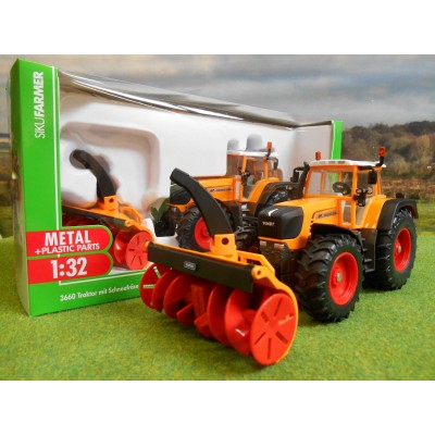 SIKU 1:32 FENDT 920 VARIO HIGHWAYS TRACTOR & SCHMIDT SNOW BLOWER