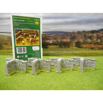 BRUSHWOOD 1:32 AUTHENTIC STONE WALLING T SECTIONS PACK OF 4