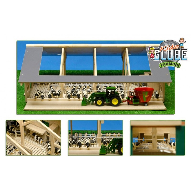 KIDS GLOBE 1:32 MONSTER BIG WOODEN COW SHED WITH ROBOT MILKING PARLOUR