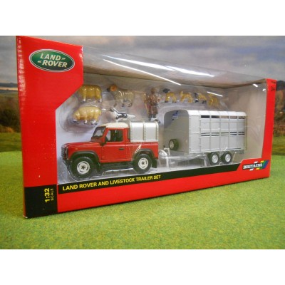 BRITAINS 1:32 RED LANDROVER DEFENDER IFOR WILL!AMS TRAILER & SHEEP SET