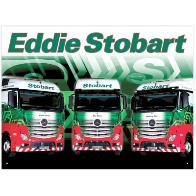 OFFICIAL EDDIE STOBART 3 MERCEDES ACTROS METAL WALL SIGN 41 x 30CM