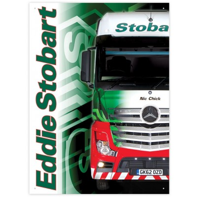 OFFICIAL EDDIE STOBART NIC CHICK MERCEDES ACTROS METAL WALL SIGN 41 x 30CM