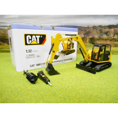 CATERPILLAR 1/32 308E2 CR SB MINI EXCAVATOR & ATTACHMENTS IN TIN CASE