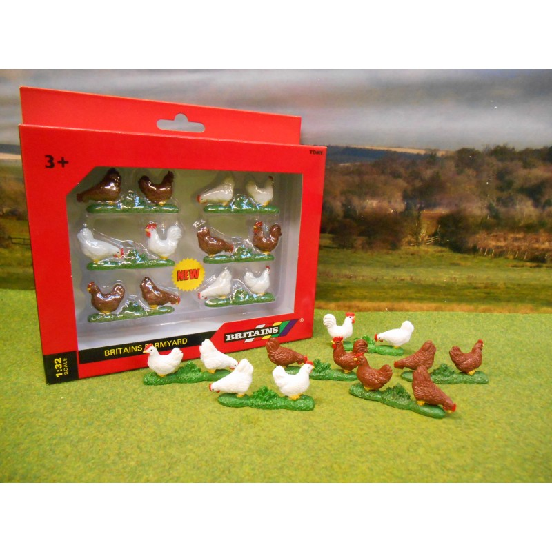 BRITAINS 1:32 PACK OF SIX PAIRS OF CHICKENS
