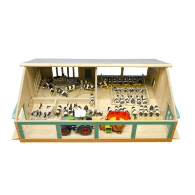 KIDS GLOBE 1:32 WOODEN FARM COW SHED WITH CAROUSEL MILKING PARLOUR