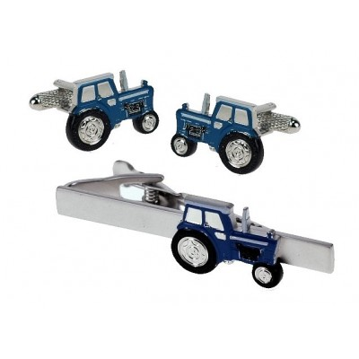 BLUE FORD TRACTOR CUFFLINKS & TIE BAR IN GIFT BOX