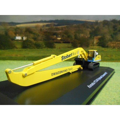ATLAS OXFORD 1:76 STOBART RAIL KOMATSU PC340 LONG REACH EXCAVATOR