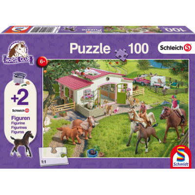 SCHMIDT SCHLEICH HORSE CLUB 100 PC JIGSAW PUZZLE WITH FOAL FIGURE