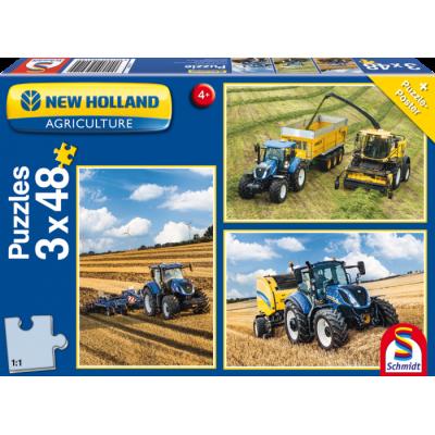 SCHMIDT NEW HOLLAND TRACTOR 3 X 48PC JIGSAW PUZZLES SET