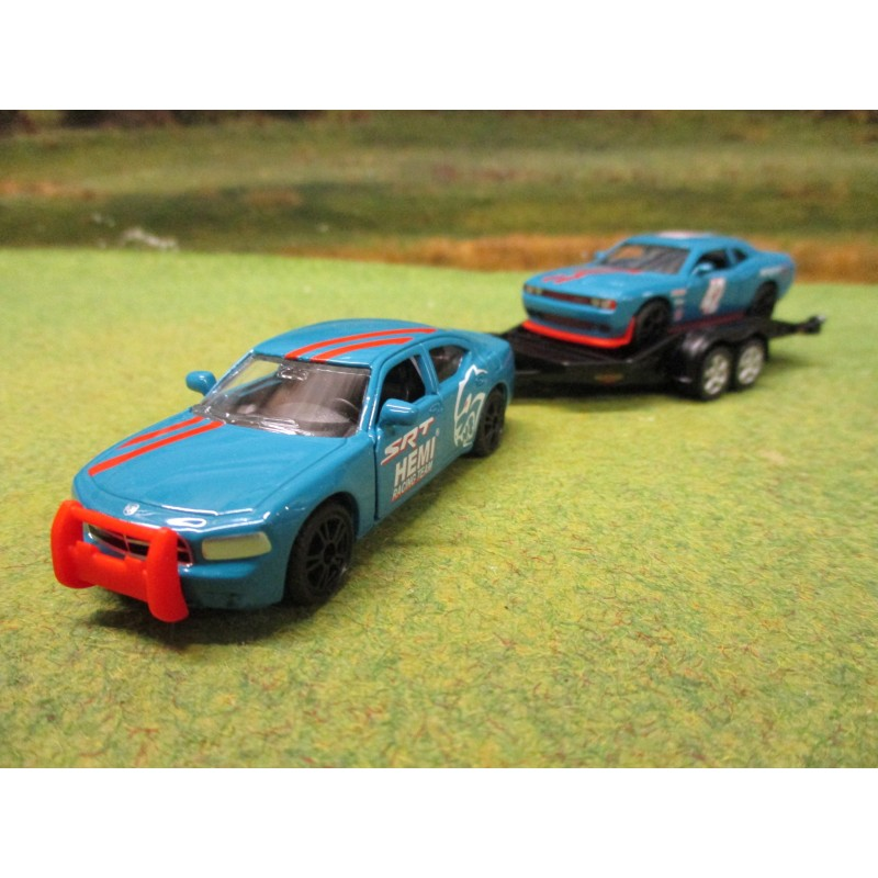 SIKU 1:55 DODGE CHARGER WITH DODGE CHALLENGER ON TRAILER SRT RACING