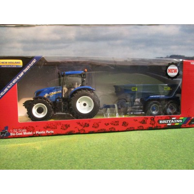 BRITAINS 1:32 NEW HOLLAND T6.175 4WD TRACTOR & NC DUMP TRAILER SET