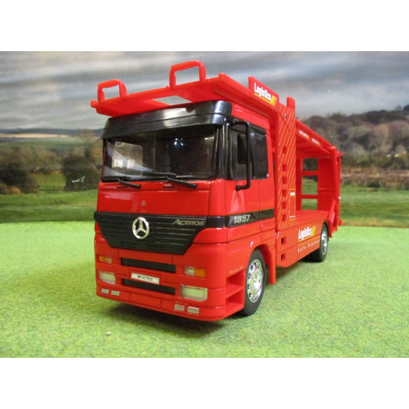 WELLY 1:32 MERCEDES ACTROS 1857 CAR TRANSPORTER TRUCK RED