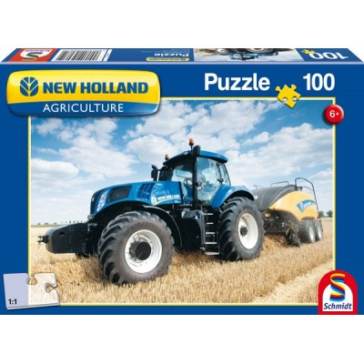 SCHMIDT NEW HOLLAND T8-300 TRACTOR & BIG BALER 100 PIECE JIGSAW PUZZLE