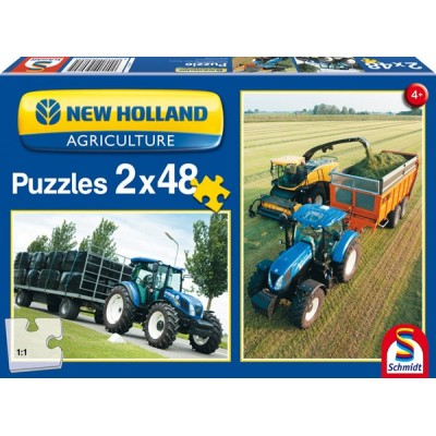 SCHMIDT NEW HOLLAND TRACTOR 2 X 48PC JIGSAW PUZZLES SET