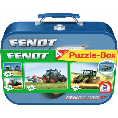 SCHMIDT FENDT TRACTOR JIGSAW TIN WITH 4 EASY PUZZLES