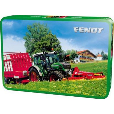 SCHMIDT FENDT TRACTOR & MOWER JIGSAW PUZZLE IN TIN 60 PC