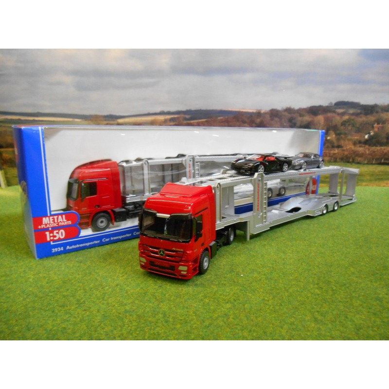 SIKU 1:50 MERCEDES ACTROS CAR TRANSPORTER LORRY WITH 2 CARS