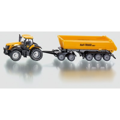 SIKU FARM 1:87 JCB TRACTOR WITH DOLLY AND TIPPING TRAILER