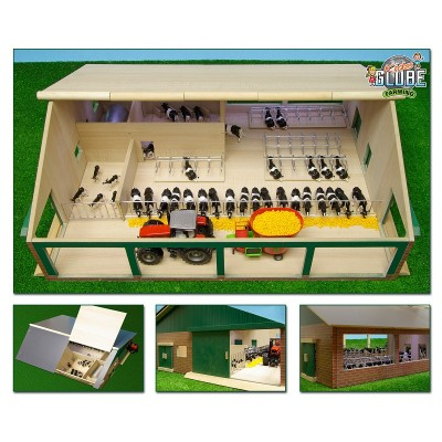 KIDS GLOBE 1:32 MASSIVE WOODEN FARM COW SHED WITH MILKING PARLOUR